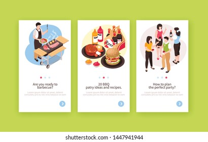 Set of three isometric bbq barbecue vertical banners with human characters food and text with buttons vector illustration