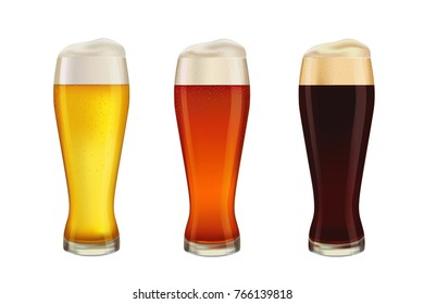 Set of three kinds of beer, on white background.