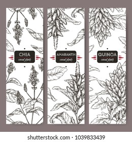 Set of three labels with amaranth, quinoa and chia sketch. Cereal plants collection. Great for bakery, agriculture, farming design.
