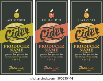 Set of three labels for a cider in the square frame with the apple, plum and pear on black