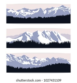 Set of three landscape banners with silhouettes of cold distant mountains and forest. Realistic vector illustration of winter nature