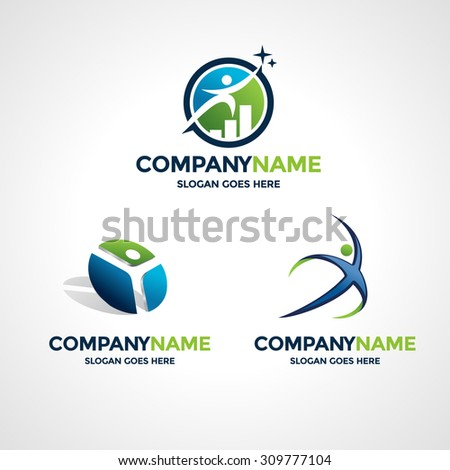 Set Three Logo Design Templates Business Stock Vector