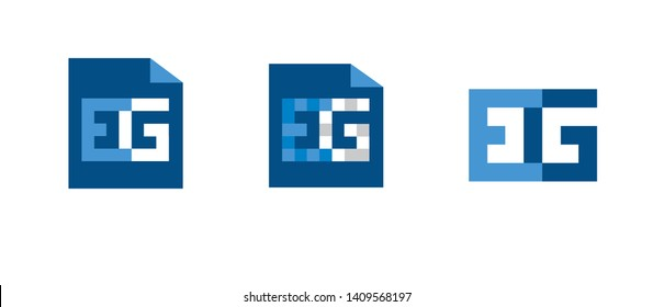 Set of three Logos EG letters vector Branding Identity Blue White