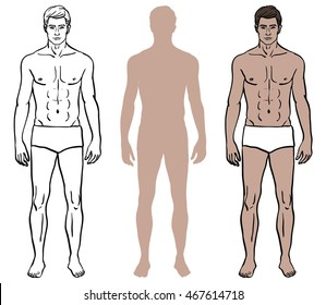 Set of three male body design templates. Caucasian model man in underwear color, coloring contour, solid color silhouette. Vector illustration in EPS 8 format.