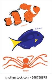 Set of three marine life illustrations