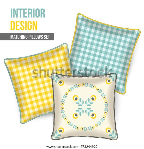 Outstanding Set Three Matching Decorative Pillows Interior Stock Vector Pdpeps Interior Chair Design Pdpepsorg