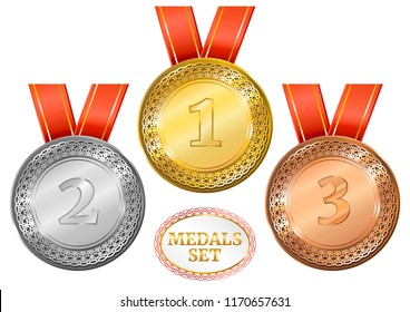 Set of three medals with numbers. Gold, silver, bronze medallions.  Vector illustration.