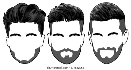 set of three men cool and elegant hair style black color