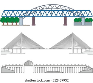 Set of three miscellaneous bridges - railroad bridge, cable-stayed bridge and highway bridge