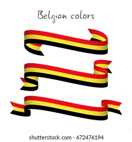 Set of three modern colored vector ribbon with the Belgian tricolor isolated on white background, abstract Belgian flag, Made in Belgium logo