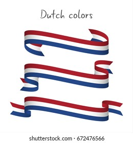 Set of three modern colored vector ribbon with the Dutch tricolor isolated on white background, abstract Netherlandish flag, Made in Netherlands or Holland logo