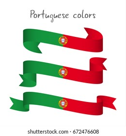 Set of three modern colored vector ribbon with the Portuguese colors isolated on white background, abstract Portuguese flag, Made in Portugal logo
