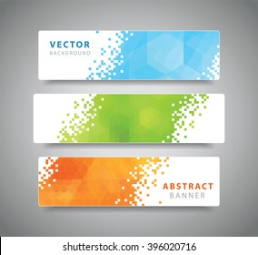 Set of three modern geometric vector banners with polygonal background. Blue, green, orange