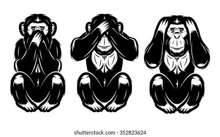 a set of three monkeys