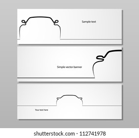 Set of three monochrome car contour backgrounds, EPS10 vector image.