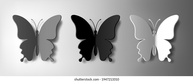 Set of three monochrome paper butterflies with vector shadow. Silhouette of a butterfly is perfect for stickers, icons, greeting cards and gift certificates