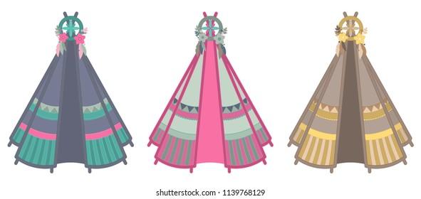 Set of three multicolored teepee illustrations isolated on white background
