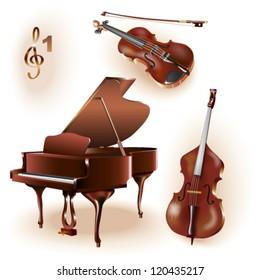 Set of three musical instruments - grand piano, violin and contrabass.