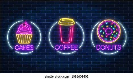 Set of three neon glowing signs of donut, cakes and coffee in circle frames on a dark brick wall background. Fastfood light billboard symbol. Cafe menu item. Vector illustration.