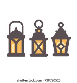 Set of three old rustic lanterns flat icons