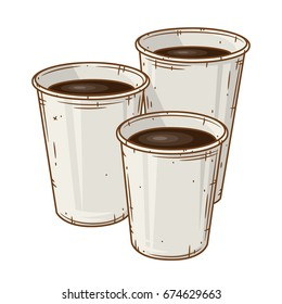 Set of  three paper coffee cup over white background. Cartoon coffee cup.