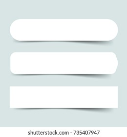 Set of three paper empty round banners. Origami white tag template on light blue backgound. Vector illustration, eps 10