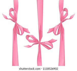 A set of three pink bows for a gift or greeting card. Vector holiday elements in cartoon style on a white background.