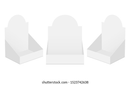 Set of three POS display boxes isolated on white background. Vector illustration