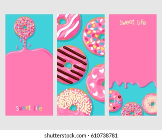 A set of three posters of donuts