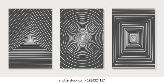 Set of three posters with geometric patterns. Spiral lines in the form of a circle, triangle, square. Imitation of perspective, tunnel. Monochrome black and white colors. Simple style, minimalism.