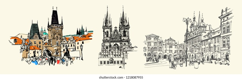 set of three Prague landmark sketch drawing isolated on light, Czech Republic, vector illustration collection