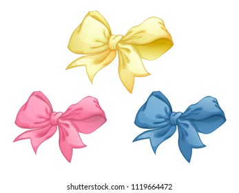 A set of three pretty bows of pastel colors for decorating gifts or greeting cards. Yellow, blue and pink vector bow in cartoon style on a white background. Element for decoration.