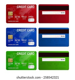 Set of three realistic credit cards with back side . Vector EPS10 illustration.
