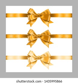 Set of three realistic golden silk ribbon bow with gold glitter shiny stripes, vector illustration elements isolated on white, for decoration, promotion, advetrisment, sale or celebration banner.
