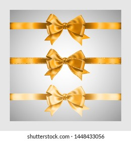 Set of three realistic golden silk ribbon bow with gold glitter shiny stripes, vector illustration elements, for decoration, promotion, advetrisment, sale or celebration banner or card.
