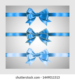 Set of three realistic light blue silk ribbon bow with gold glitter shiny stripes, vector illustration elements, for decoration, promotion, advetrisment, sale or celebration banner or card.
