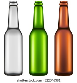 Set of three realistic looking empty beer bottles. Vector illustration.