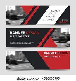 Set of three red horizontal banner,  business banner templates. Vector corporate identity banner design, modern background layout. Website banner design. Abstract banner template.