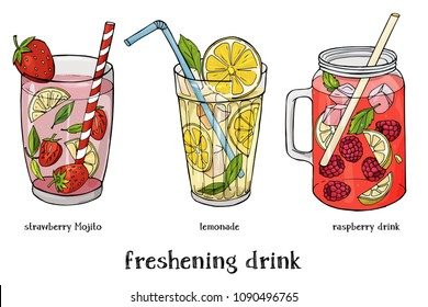 Set of three refreshing summer drinks. Strawberry Mojito, lemonade and raspberry cocktail. Colorful vector illustration in sketch style.