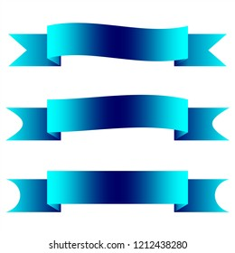 Set of three ribbon banners. Sign blank for advertising text, promotion or web. Symbol blue vintage label.