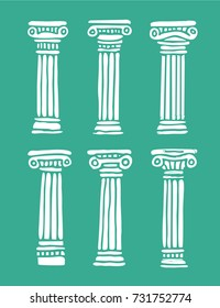 Set of three roman and greek hand painted stylized antique columns. Vector illustration. Isolated