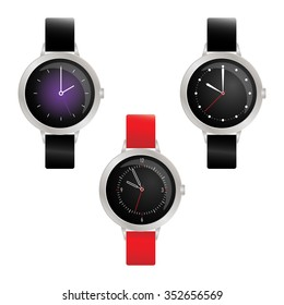 Set of three round smart watches with different dial.