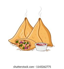 Set of three Samosas with sauce vector illustration
