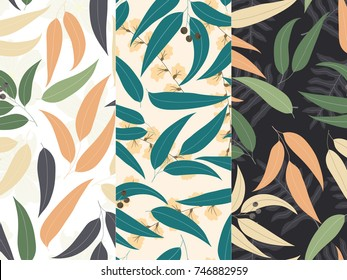 Set of three seamless floral pattern. Tropical background with gum-tree leaves