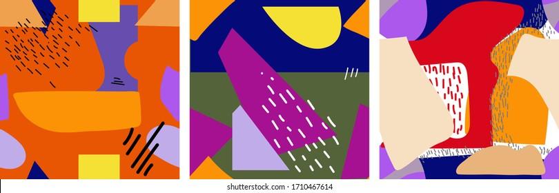 Ensemble de trois motifs harmonieux. Texture dessinée à la main . Illustration vectorielle abstraite contemporaine et tendance. Chaque motif est isolé