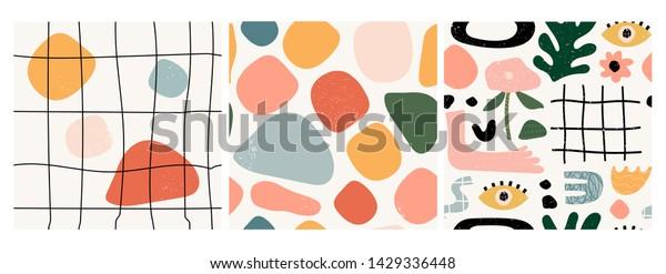 3つのシームレスなパターンのセット。手描きのさまざまな形と落書き。現代的な抽象的な流行のベクターイラスト。スタンプのテクスチャー。すべてのパターンが分離されています