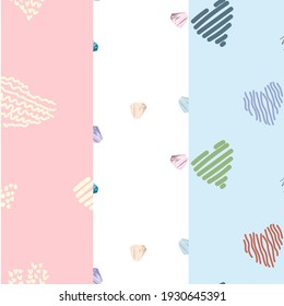 Set of three seamless romantic patterns with hand drown red hearts. Ready template for Valentine's day cards, print, poster, party. Vector design.
