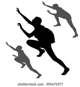 Set of three silhouettes girl, woman, climber with a backpack. Pose of the tourist who reaches for top during rise up. The climber achieves the objectives. Persistence during ascension on top. Vector.