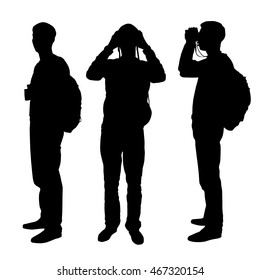 Set of three silhouettes - man, boy, climber with a backpack on a back standing and looking through binoculars. Tourist, rock-climber with the binoculars in hands. Orientation to districts. Vector.