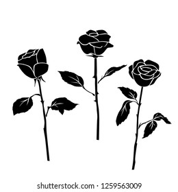 Set of three silhouettes rose flowers, black color, isolated on white background. Vector illustration